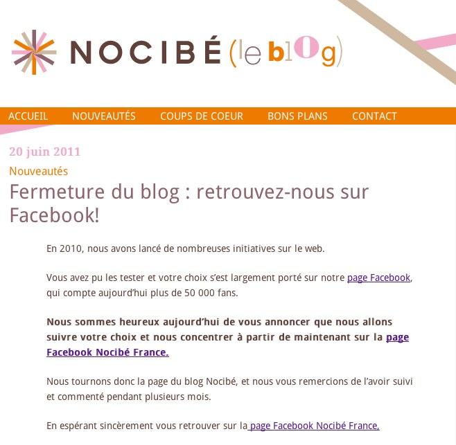 Le blog de Nocibe est fermé