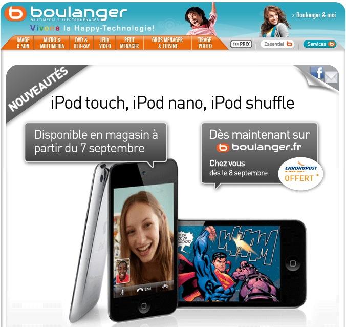 newsletter Boulanger new ipod touch, nano, shuffle