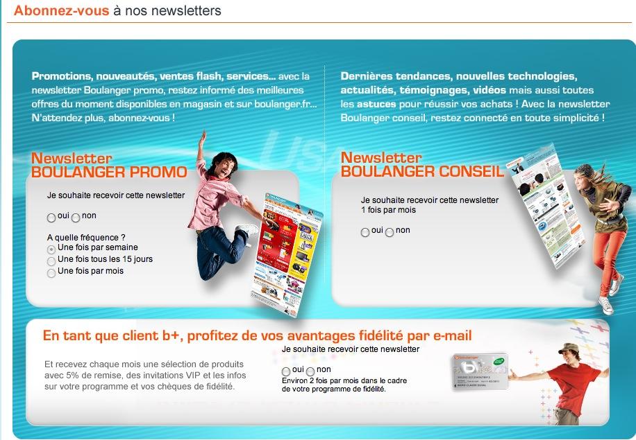 page d'inscription newsletter Boulanger