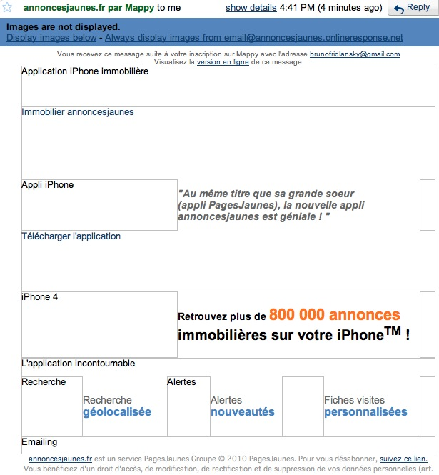 L'email d'annonscesjaunes.fr avec les images bloquées