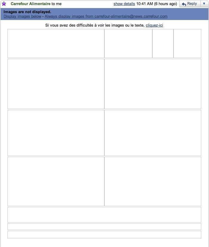 L'email de Carrefour Alimentaire, toutes images bloquées