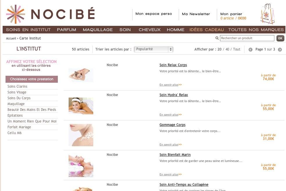 Carte Institut sur Nocibe.fr