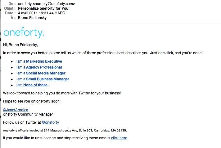Email de qualification de Oneforty