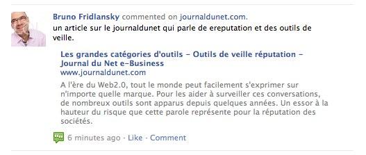 Commentaire sur Facebook via Comments sur JournalduNet