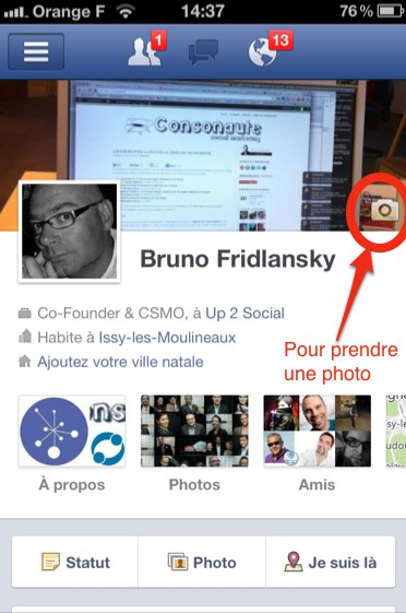 Facebook Cover sur mon iPhone