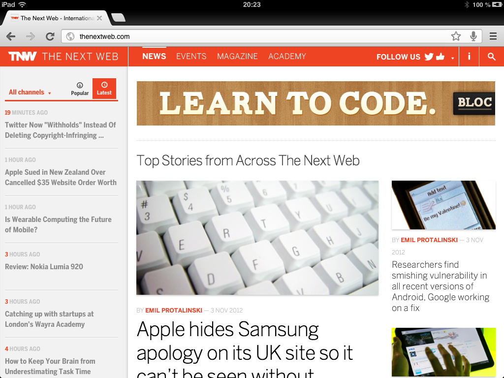 The Next Web version iPad