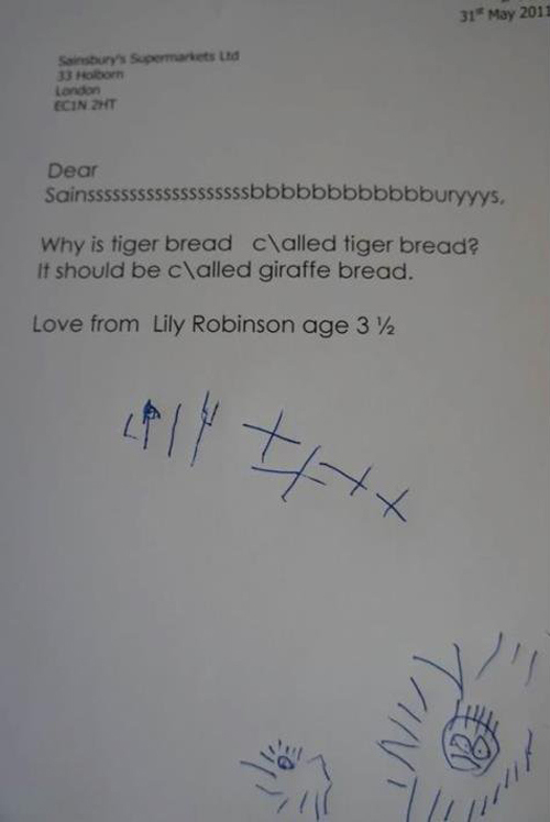 Lettre fille de 3 ans