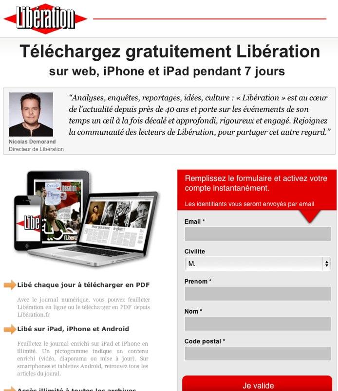 Libération, 7 jours gratuitement de lecture