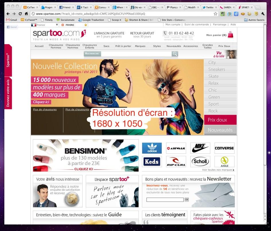 Home page de Spartoo étudiée pour le radar