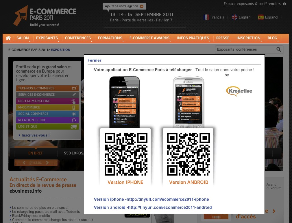 Overlay du site e-commerce paris 2011