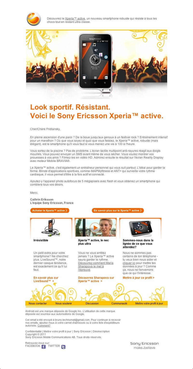 Sony Ericsson - Découvrez le Xperia active (20111026)