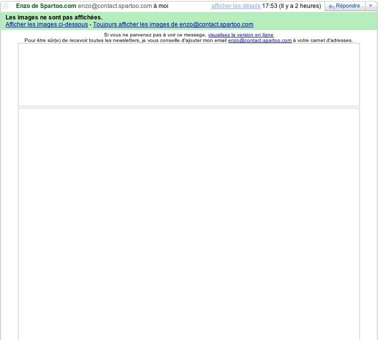 Capture d'image du message email de Spartoo