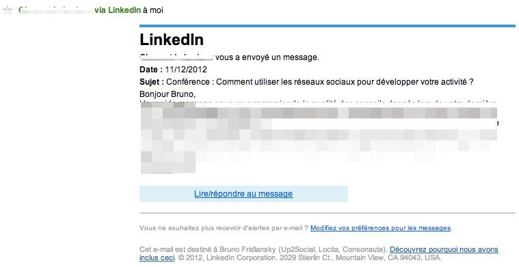 Vrai email de LinkedIn