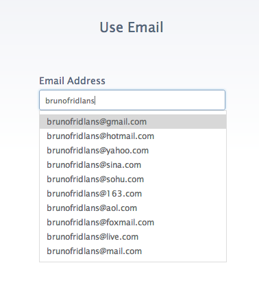 autocompletion email
