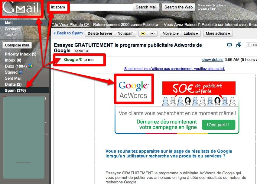 Un email de Google en spam dans Gmail